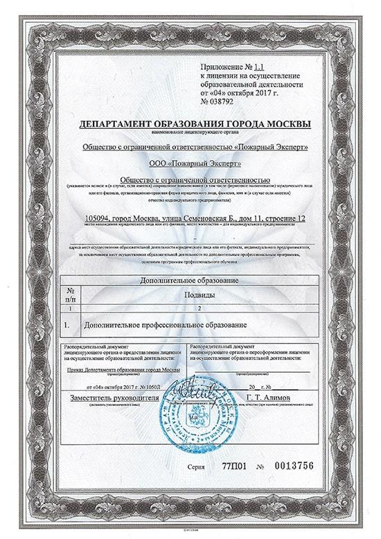 Приложение к лицензии об образовательной деятельности